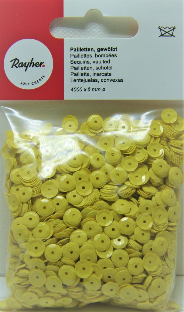 Sequins paillettes bombés rayher 6mm jaune 4000 pièces
