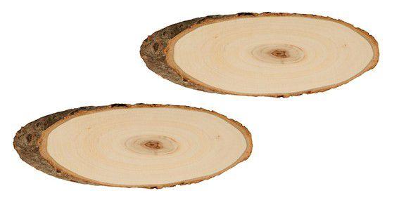 Set de 2 Rondelles Ovale Bois - 17 À 21 cm - Artémio