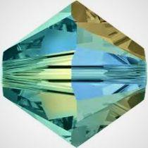 Toupie 5328 Aquamarine Dorado 4mm x50 Cristal Swarovski