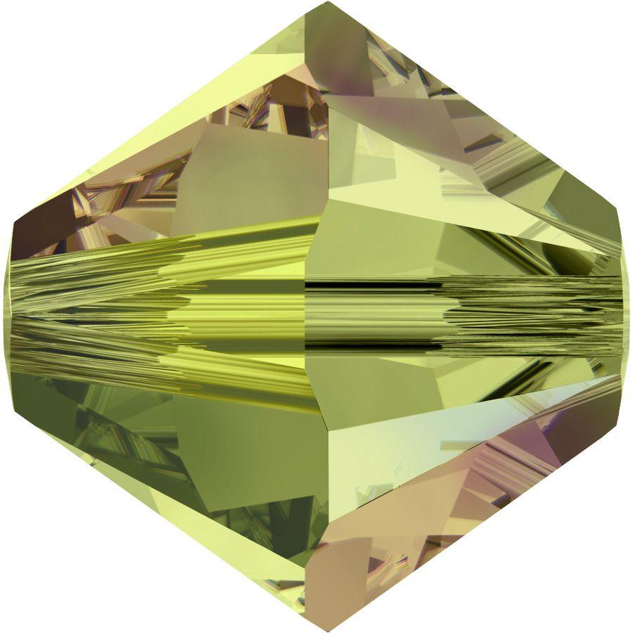 Toupie 5328 Olivine AB2X 6mm x1 Cristal Swarovski