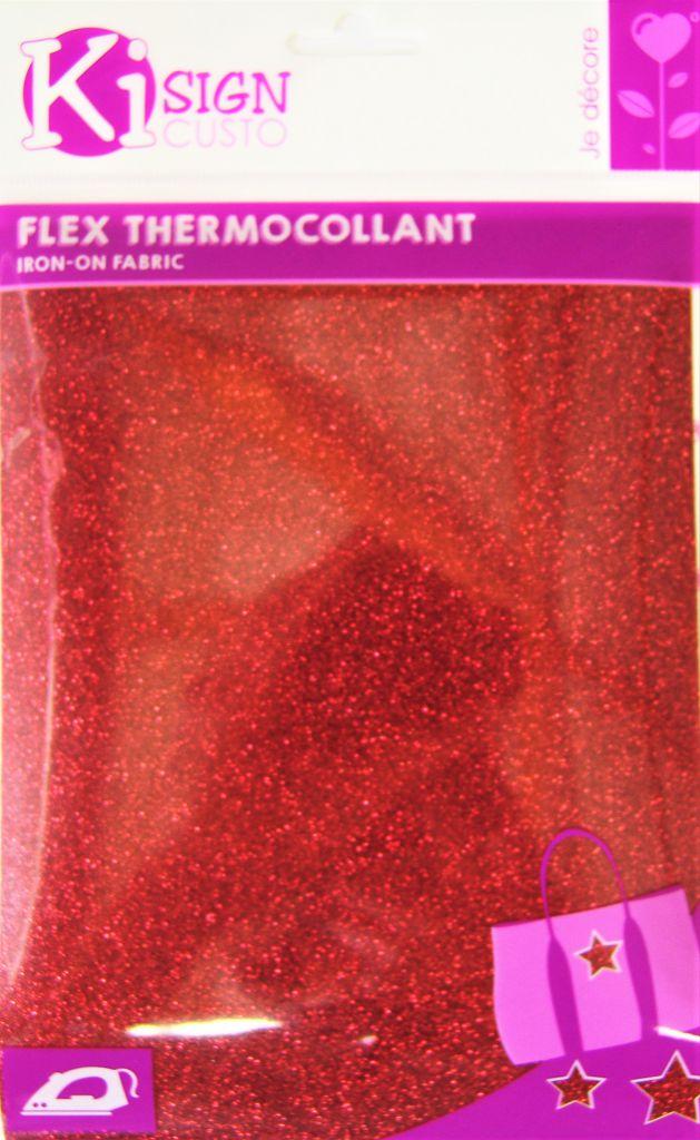 Transfert thermocollant rouge pailleté 15x20 cm