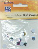 Yeux mobiles ronds à cils 10mm X10